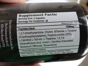 Anorectant-No-10-ingredients-label