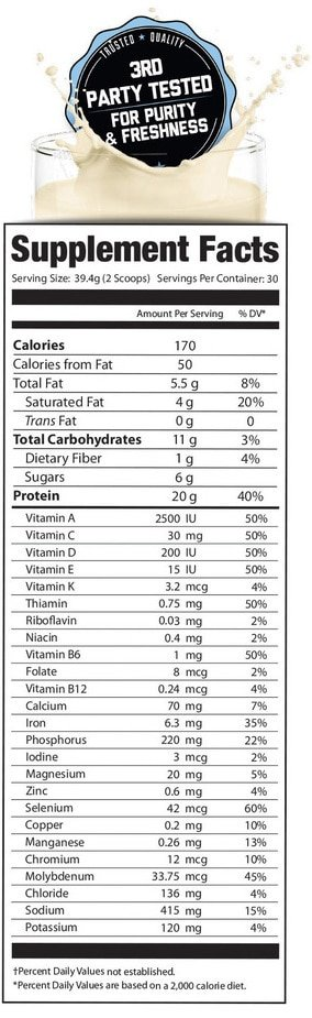 Organifi Complete Protein Ingredients Label
