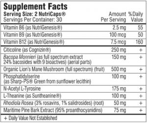 Mind Lab Pro supplement facts label