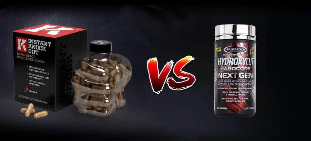 Instant Knockout Bottle and Hydroxycut Container on Black Background