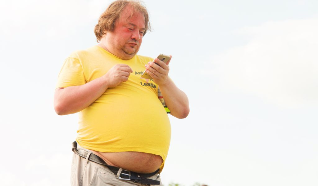 Obese man with large stomach