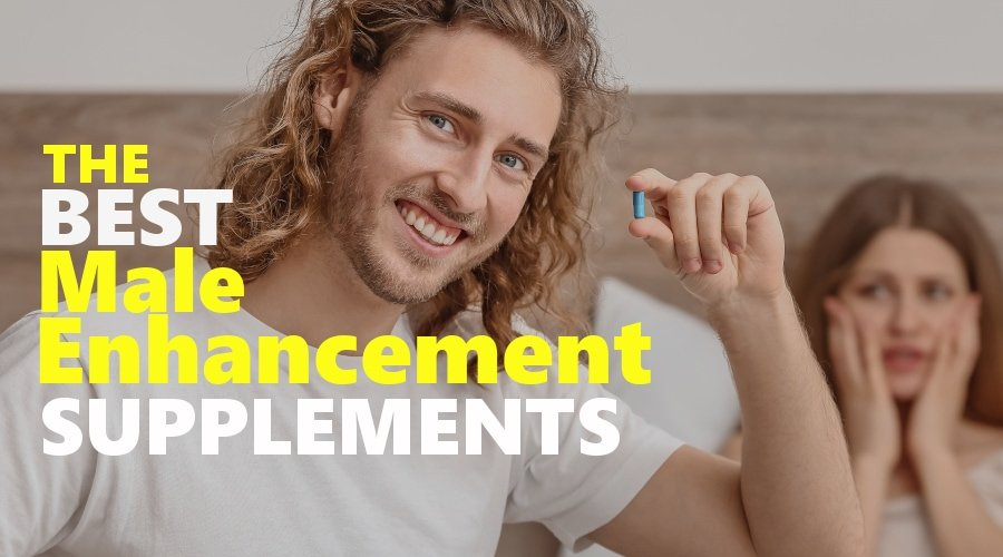 Man taking male enhancement supplement.
