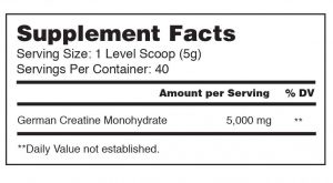 AMRAP Nutrition Creatine ingredients label