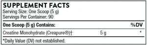 Thorne Research Creatine Supplement Facts Label