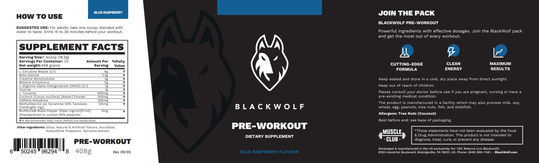 Blackwolf supplement label