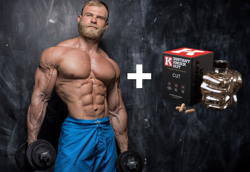 Male bodybuilder standing next to Instant Knockout Box and Bottle.